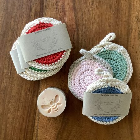 One hundred percent cotton crochet facial bar bags available at Honeybee House skin Co.