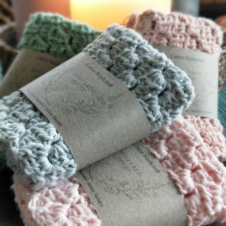 Natural sustainable cotton washcloth.