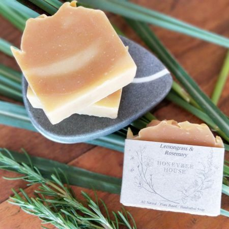 all natural handcrafted soap bars - lemongrass and rosemary body bar