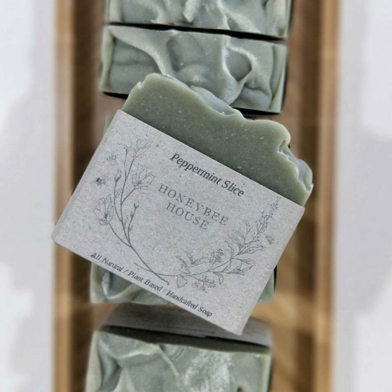 sustainable plant based vegan friendly soap - peppermint slice body bar soap